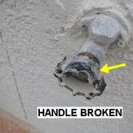 Hose bib handle was broken. Many times the stem is also bent.  This was also found during an inspection in El Paso.